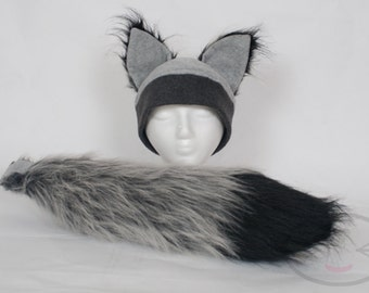 Furry Ear Grey Wolf Hat and/or Tail Set
