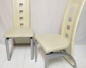 Vintage Pair 2 Mid Century Modern Chairs Nickel Metal Off White Vinyl Sculptural Dining Room Kitchen High Back