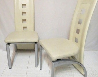 Vintage Pair 2 Mid Century Modern Chairs Nickel Metal Off White Vinyl Sculptural Dining Room Kitchen High Back