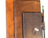 Songwriter's Leather Notebook Cover - Guitar Pick Holder - Medium size 5 x 8.25 Moleskine Cahiers. Personalized and Customized.