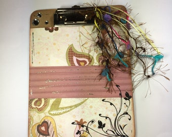 "Altered Mini Clipboard, One of a Kind Mini Clipboard, Altered Art, 8"" X 6"" Clipboard, Pink Paisley and Hearts"