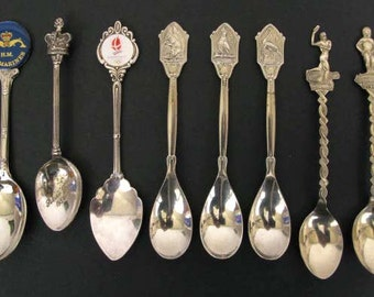 Collection of 8 Teaspoons, Coffee Spoons, Collectable Spoons, Unusual Spoons, Decorative Spoons, Vintage Spoons, Coffee Spoons (025)