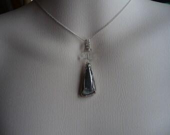 Iron Pyrite with elongated Herkimer Diamond pendant