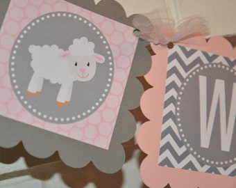 Lamb Welcome  banner, Little Lamb party, Little Lamb, birthday banner, 1st birthday banner, baby lamb, Sheep, pink grey