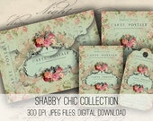 Digital Collage Sheet Download - Shabby Chic Envelopes, Tags & Cards -  1143  - Digital Paper - Instant Download Printables