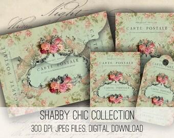 Digital Collage Sheet Download - Shabby Chic Envelopes, Tags & Cards -  1143  - Digital Paper - Instant Download Printables