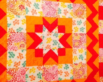 Sale Flannel Square Machine Quilted Baby quilt