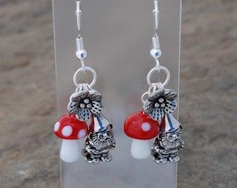 Pewter Garden Gnome Earrings