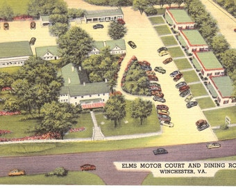 Vintage Linen Postcard......Elms Motor Court and Dining Room, Winchester VA.....Unused....no. 2588