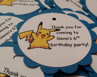 Pokemon personalized party favor thank you tags - set of 12