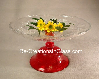 """Pedestal cake plate. Fruit display. Holiday entertaining. Bright red pedestal stand. """"The Nancy"""" made with repurposed glass."""