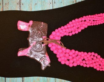 Chocolate and Hot Pink Show Necklace!!!!