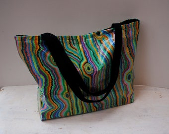 Bright Jupiter Tote Bag, oilcloth perfect for shopping or beach