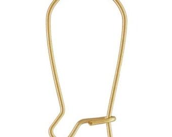 14k Gold Filled 24mm Kidney Ear Wires 6pcs