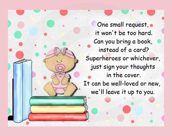 Instant Dowload,Bring A Book Insert Card, Baby Shower Book Request Insert  Card,