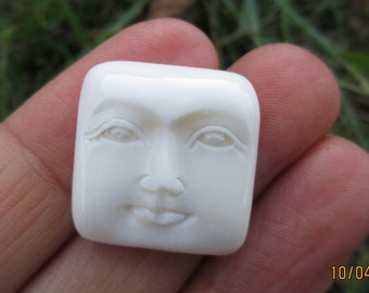 Hand Carved   face with open eyes  Cabochon, Not drilled, buffalo bone  Cabochon for Setting , embellishment S4308