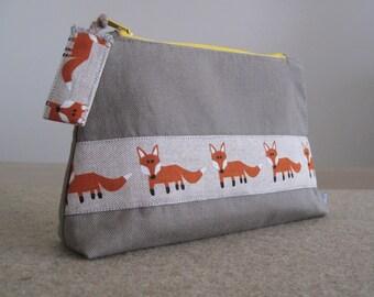 Handmade Pencil Case, Cosmetic Bag, Zipper Pouch, Fox