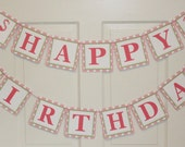 POLKADOT FLAMINGO Theme Happy Birthday or Baby Shower Party Banner Pink Green - Party Packs Available