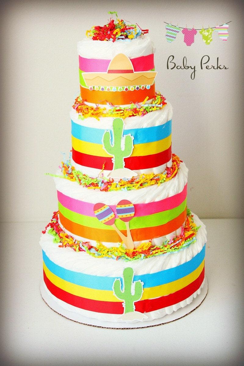 Fiesta diaper cake fiesta diaper cake baby shower - Fiesta baby shower ...