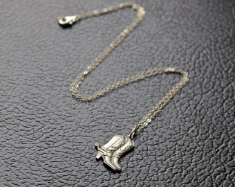 Cowboy Boots Necklace \\ Western Necklace \\ Sterling Silver