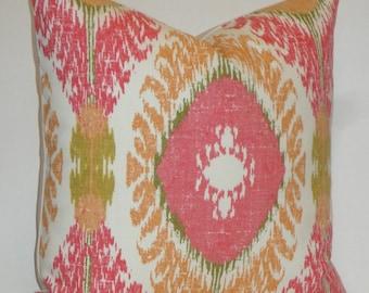 IKAT Decorative Pillow Cover - Accent Pillow - Pink - Orange - Olive Green - Sofa Pillow - Chair Pillow