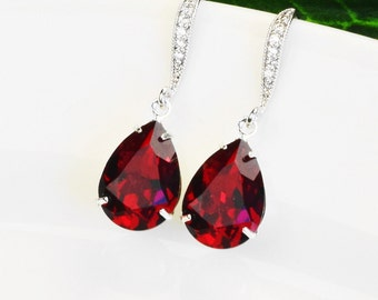 Red Crystal Earrings - Swarovski Earrings for Bridesmaids - Ruby Earrings Silver - Bridal Jewelry - Wedding Jewelry - Bridesmaids Jewelry