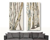 Extra Large wall art set diptych living room wall decor oversized artwork huge canvas white gray pastels tree trunks bedroom dining room