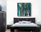 Dining room wall art Very LARGE fine print canvas living room office abstract landscape artwork teal trees famly room wall decor bedroom