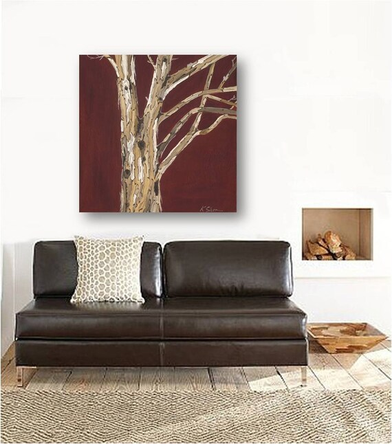 Oxblood red large Wall Art canvas print living room wall decor