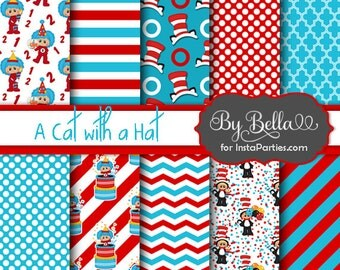 INSTANT download Cat with Hat digital paper 300 dpi 12x12