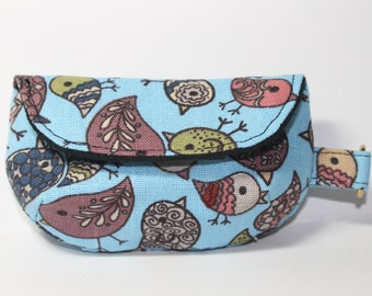 Keychain clutch, tiny clutch to attach to key ring, black and blue with birds