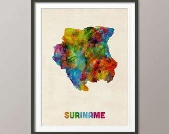 Suriname Watercolor Map, Art Print (1331)