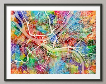 Pittsburgh Map, Pittsburgh Pennsylvania City Street Map, Art Print (1341)