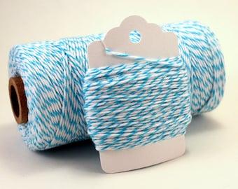 Aqua Twine - Blue Baker's Twine - Aqua Striped String - Aqua Divine Twine - Sky Blue Twine - Light Blue Twine - Wedding Favor Twine - DIY