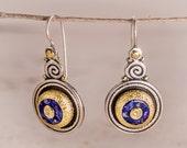 Lapis earrings, Lapis Lazuli Long  Earrings, 22k gold earring gemstone, Lapis lazuli jewelry