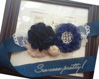 Burlap flower sash