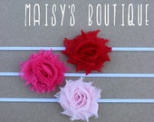 75% Off Set of 3- Petite Red, Hot Pink & Light Pink Shabby Flower Headband Set/ Newborn/ Baby/ Flower Girl/ Wedding/ Photo Prop