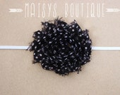 75% Off- Black and White Polka Dot Shabby Flower Headband/ Newborn Headband/ Baby Headband/ Photo Prop