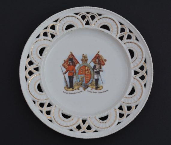 Edwardian Meissen Style Ribbon Plate Grenadier Guards and Royal Horse Guards Vintage Military Plate British Army Souvenir Antique Plate