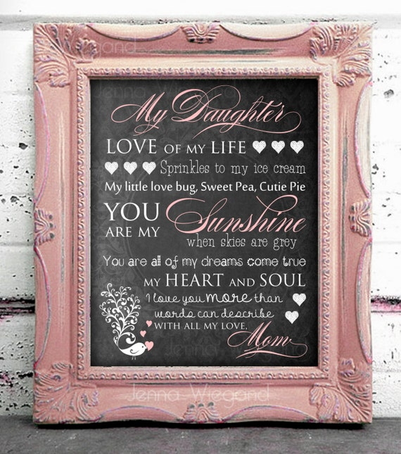 My Daughter Daughter Inspirational Print Daughter Love