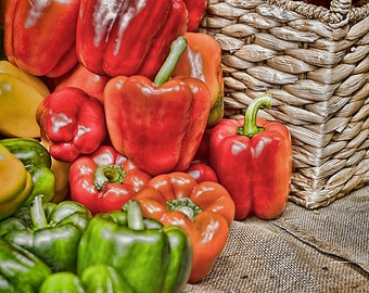 Metal Print - Peppers, Artichokes, Eggplant - Kitchen Art - Food - Choose Size and Print