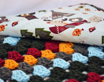 Fox and friends on an adventure crochet baby blanket, fox blanket, baby blanket, granny square blanket, reversible crochet baby blanket ,