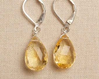 Citrine Earrings, November Birthstone Earrings, Yellow Gemstone Earrings, Healing Gemstone Jewelry