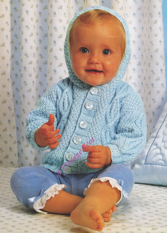 Knitting Pattern Hooded Jacket Toddler : Baby / Toddler Hooded Aran Fishermasn knit by avintagescot
