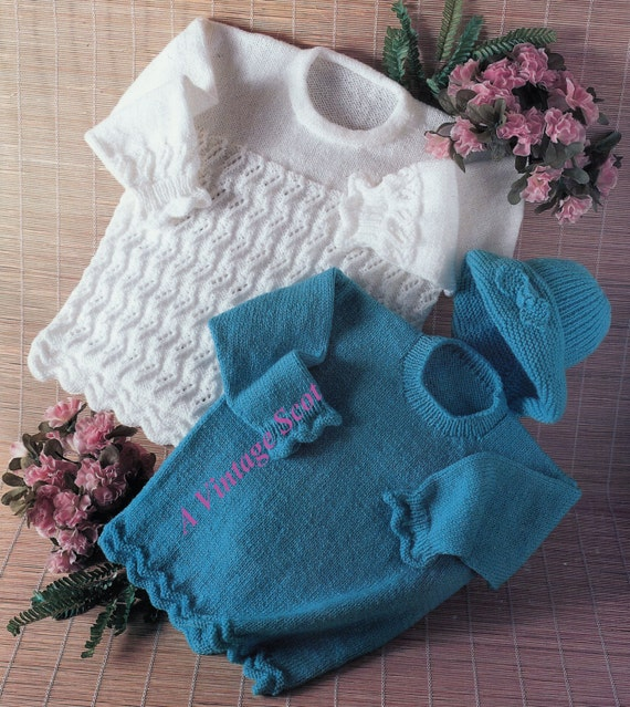 Knitting Pattern Plain Jumper : Girls Lace Jumper and plain knit Jumper and Hat in DK 8ply
