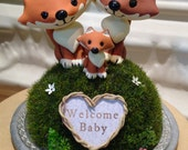 Woodland Foxes Baby Shower Cake Topper - Custom Cake Topper -  Personalize Heart Wreath with Names or Phrase - Work of Whimsy