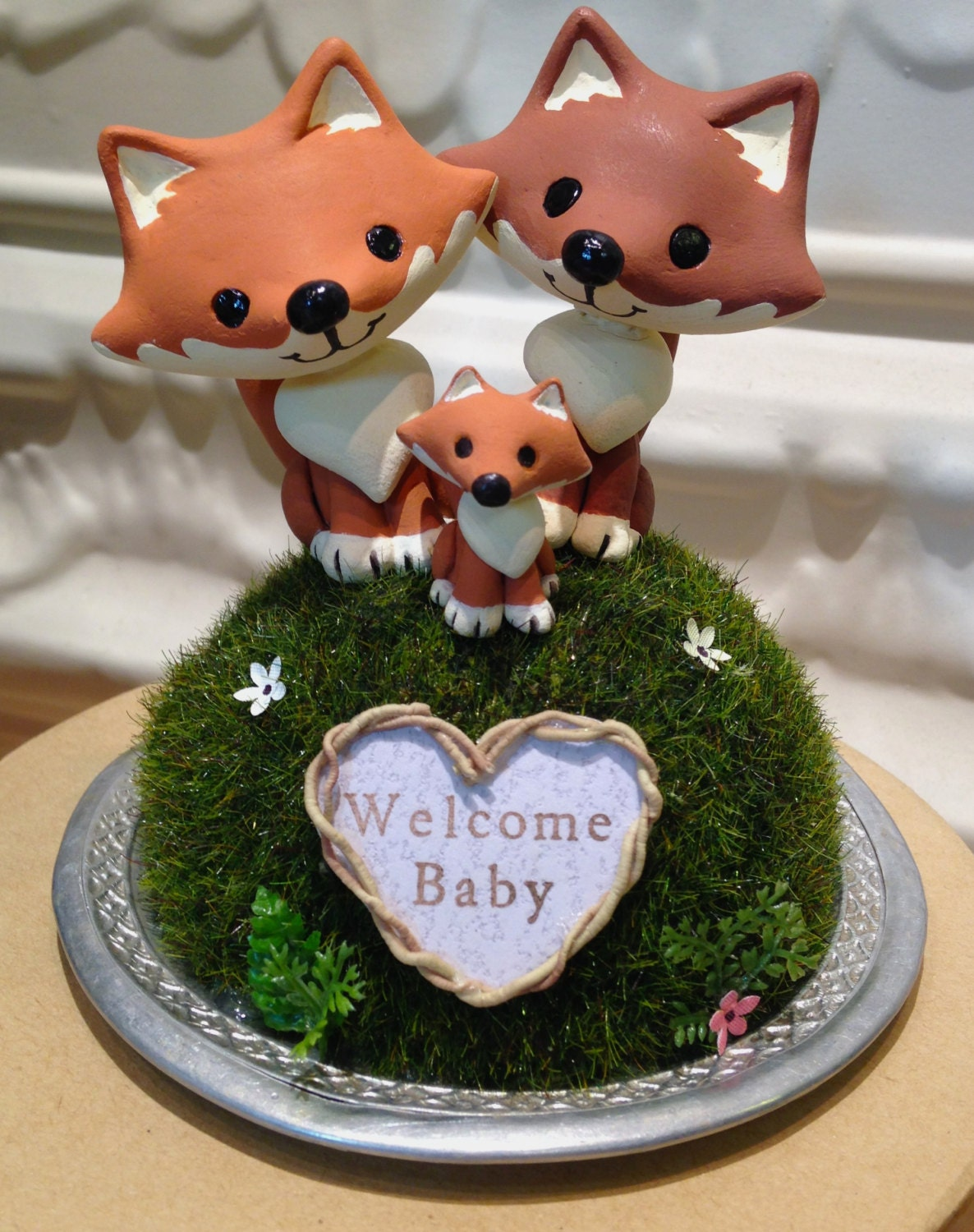 woodland foxes baby shower cake topper custom cake topper