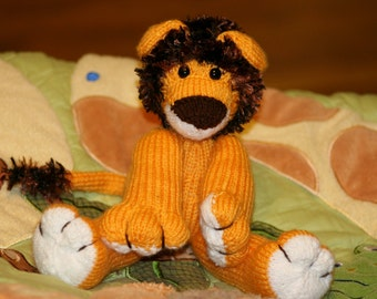 Knit Lion Doll - May be Personalized!! -- Amigurumi Knitted Toy