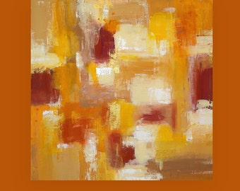 Art, Acrylic Painting,Abstract Painting on Canvas, Modern Art,Paintings,Original Art by Ora Birenbaum Titled: Warmth Of Autumn 36x36x1.5""