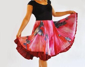 Hand painted chiffon skirt/A- line chiffon skirt/Red short painting skirt/Aline red skirt/Hand painted skirt/Circle skirt/